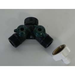 "Y3414PL, Garden Hose Y Adapter Valve Plastic 1/4"" quick connect fitting"